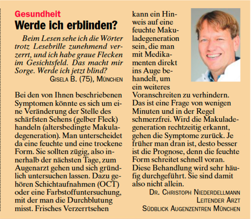 Augenarzt Dr. Niederdellmann im Zeitungsartikel tz Ratgeber zum Thema: Werde ich erblinden?